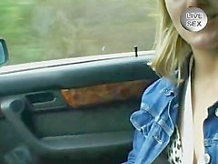 Blonde teen playing in the car