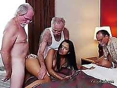 Old Men Feast On Teenage Chick Nikki Kay