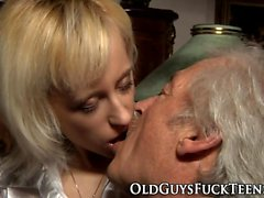 Teen blows old guys cock
