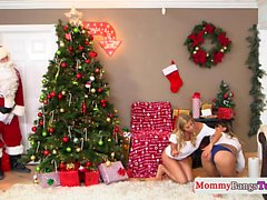 Busty stepmom with santas little teen helper