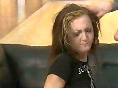 Brunette Slut On Her Knees Gagging On Dick During Face Fuck