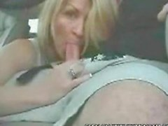 Blonde blows in the car