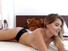 Blonde babe in white panties webcam