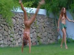 Russian girls watersports in the garden