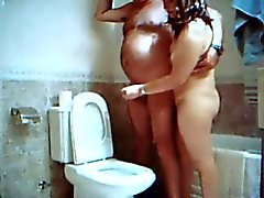 handjob in the bathroom with Adriana