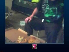 Man gets nasty with 3 pizzas and doritos