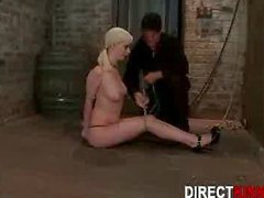 Big Breast Blonde Babe Hogtied Style