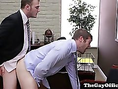 Gay office hunk being ass pounded