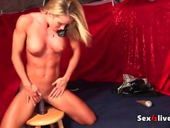 Muscle blonde erotic show at phone