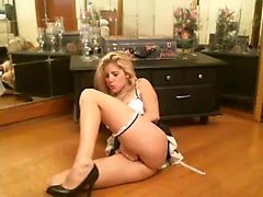 Delightful blonde amateur with big hooters caresses her fie