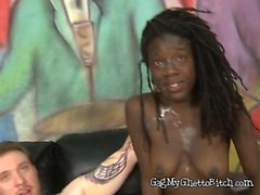 Ebony Secretary Alexis Mitchell Chokes From Big Cock Of Boss