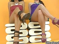 Hot brunette babes get horny showing off part1