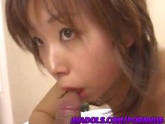 NAughty Asian babe, Mai is fingered before swallowing hard cock