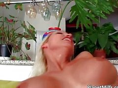 Horny blond pussy pierced MILF sucking