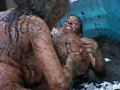 Mature vs Younge Mud Wrestling Sex Fight