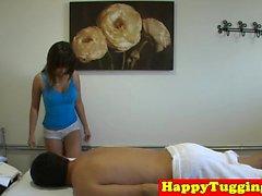 Busty asian masseuse wanking and cocksucking