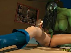 Shehulk and Powergirl sexy lesbians get juicy wet pussies going