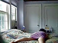 Watch my mom having good time on bed. Hidden cam