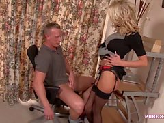 PURE XXX FILMS Busty Blonde Milf milks a cock
