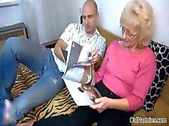 Nasty mature slut gets her tits sucked
