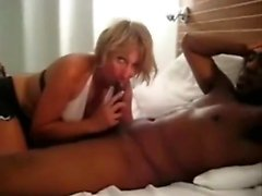 Interracial intercourse with adult blonde milf experiencing