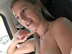 Big tittied Alena flashed her nice big tits while he drives
