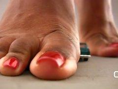 Darla TV Giantess Ebony Feet Trample Little Car! Long Toenails!