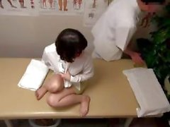 Old Japanese geezer massages a petite wench and then penetrates her