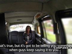 Huge tits British amateur fucking in cab taxi voyeur