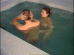 One of the greatest russian milf in pool and sauna sex