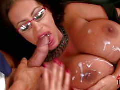 Busty Emma Busty gets her huge tits glazed with cum