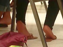 Candid Ebony Feet in Class
