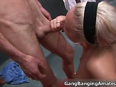 Nasty blonde slut goes crazy jerking part2