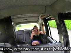 Busty uk blonde bangs in fake taxi