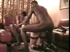 Two African Black-Men Instruction Bright Slave Spouse to Pr