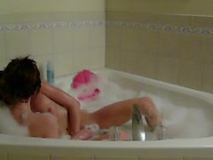 Skinny College Lesbians Bubble Bath Make out