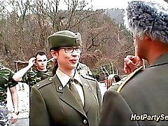 Chick gets soldiers cum