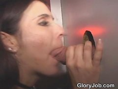 Pretty Brunette Sucking And Milking Cock At Glory Hole