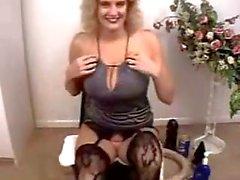 Bizarre mature amateur blonde hardcore huge dildo insertions