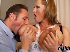 Hot maid has her big boobs jizzed