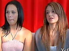 Two cfnm hotties watch a jerk off session