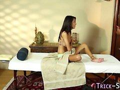 Teen deepthroats masseur