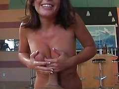 Busty brunette girl jacks off fat meat pole