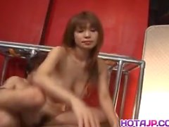Ai Kurosawa Japanese milf wakes up to give double blowjob