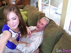 Teen stepdaughter guzzles