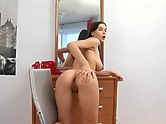 Amber Hardin Alanova Russian Brunette Hair Large Round Melons Oiled Masturbating