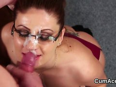 Wicked peach gets jizz shot on her face swallowing all the j