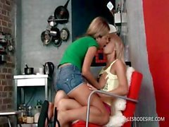 Two lesbians get undressed and kiss and rub their little titties