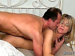 Small tits mother fucked and ass cummed in bed