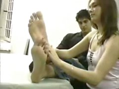 Girl Massage and Lick Male Feet